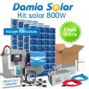 Kit solar 800W Uso Diario Cuasi-Mono: Frigorífico, luz, TV. ONDA PURA BLUE