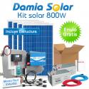 Kit solar 800W Uso Diário: frigo congelador, luz, TV. ONDA PURA BLUE