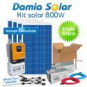 Kit solar 800W Uso Diario: nevera con congelador, luz, TV. ONDA PURA y CARGADOR