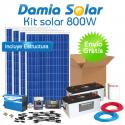 Kit solar 800W Uso Diario: Luz, TV, portátil, DVD, Música. ONDA MODIFICADA