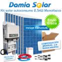 Kit autoconsumo solar 2,5kW monofásico Inyección Cero