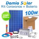Kit solar completo para caravanas 100W + Batería AGM