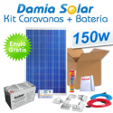 Kit solar completo para caravanas 150W + Batería AGM