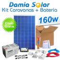 Kit solar completo para caravanas 160W + Batería AGM