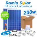 Kit solar completo para caravanas 200W. Con regulador para carga de 2 baterías