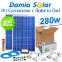 Kit solar para caravanas 280W (2x panel 140W) + Batería de Gel