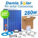 Kit solar completo para caravanas 280W. Con regulador para carga de 2 baterías