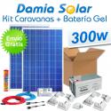 Kit solar para caravanas 300W (2x panel 150W) + Batería de Gel