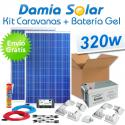 Kit solar para caravanas 320W (2x panel 160W) + Batería de Gel