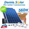 Kit solar completo para caravanas 560W a 12V (dos paneles de 280W 24V)
