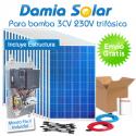 kit solar para uso directo de bomba de agua 3CV 230V trifásica