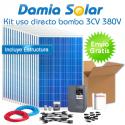 kit solar para uso directo de bomba de agua 3CV 380V trifásica