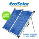 Placa solar dobrável portátil 200W 12V (100W+100W) + regulador 20A